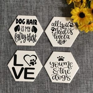 Hand Crafted   Hexagon Dog Coasters [4 pack]